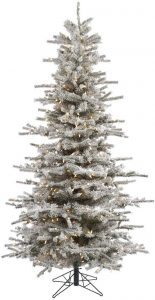 Vickerman 75' Flocked Slim Sierra Artificial Christmas Tree