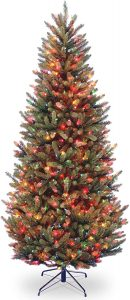 Pre-Lit Natural Fraser Slim Artificial Christmas Tree