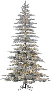 Prelit Flocked Bavarian Pine Christmas Tree